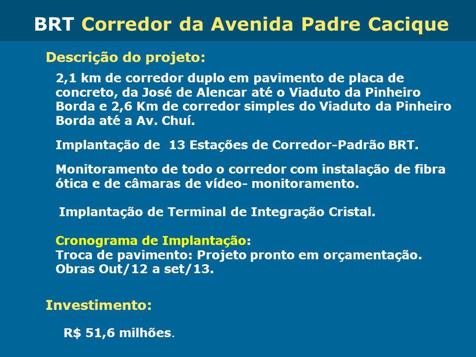 Obras de Mobilidade Urbana e Transporte Público – Porto Alegre Copa 2014 Descrição do projeto: 2,1 km de corredor duplo em pavimento de placa de concr