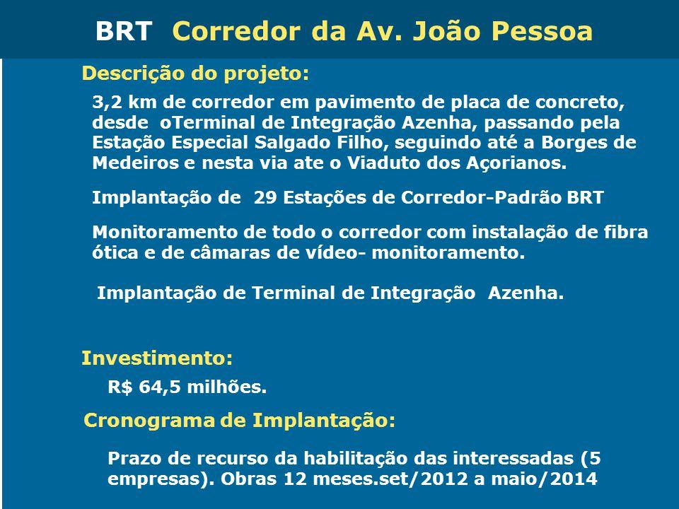 Obras de Mobilidade Urbana e Transporte Público – Porto Alegre Copa 2014 Descrição do projeto: 3,2 km de corredor em pavimento de placa de concreto, d