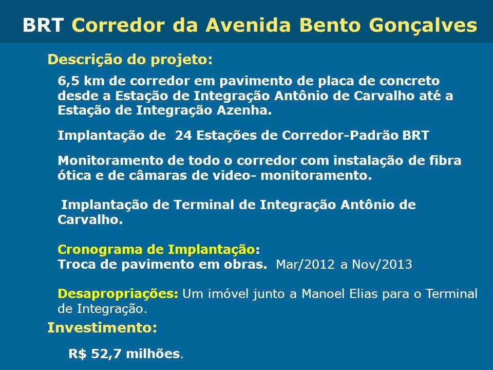 Obras de Mobilidade Urbana e Transporte Público – Porto Alegre Copa 2014 Descrição do projeto: 6,5 km de corredor em pavimento de placa de concreto de