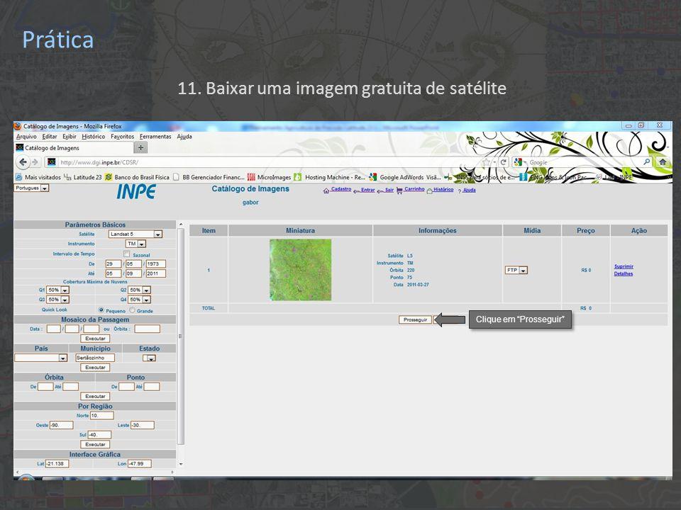 """11. Baixar uma imagem gratuita de satélite Clique em """"Prosseguir"""" Prática"""