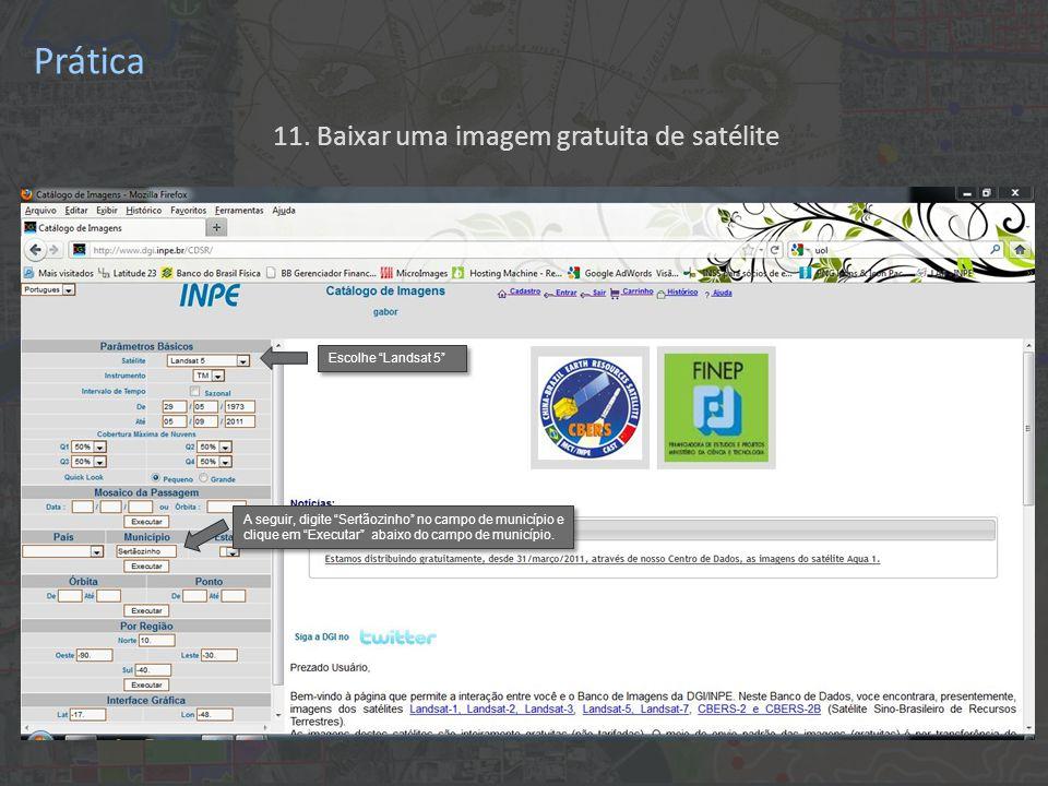 """11. Baixar uma imagem gratuita de satélite Escolhe """"Landsat 5"""" A seguir, digite """"Sertãozinho"""" no campo de município e clique em """"Executar"""" abaixo do c"""