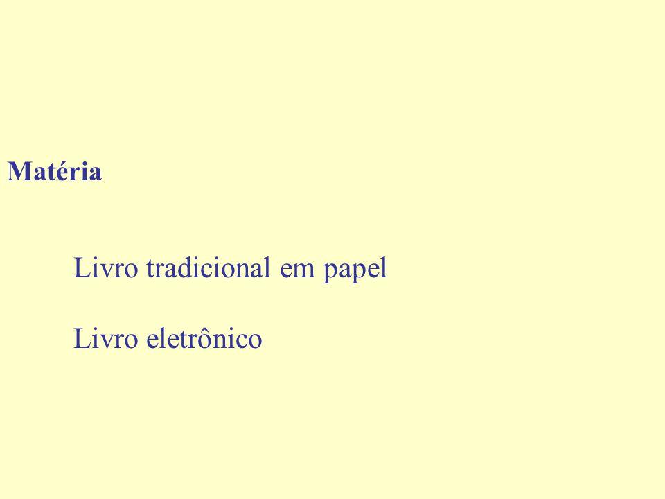 Matéria Livro tradicional em papel Livro eletrônico