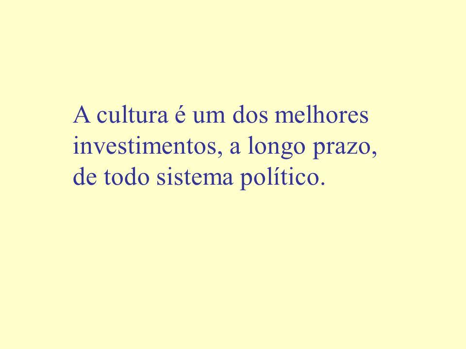 A cultura é um dos melhores investimentos, a longo prazo, de todo sistema político.