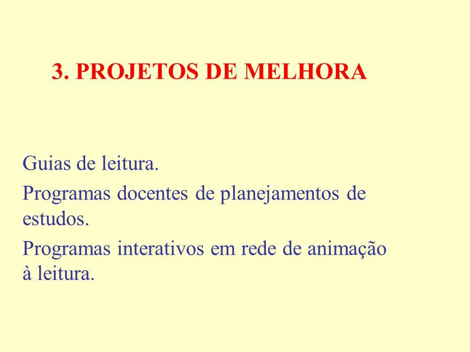 3. PROJETOS DE MELHORA Guias de leitura. Programas docentes de planejamentos de estudos.
