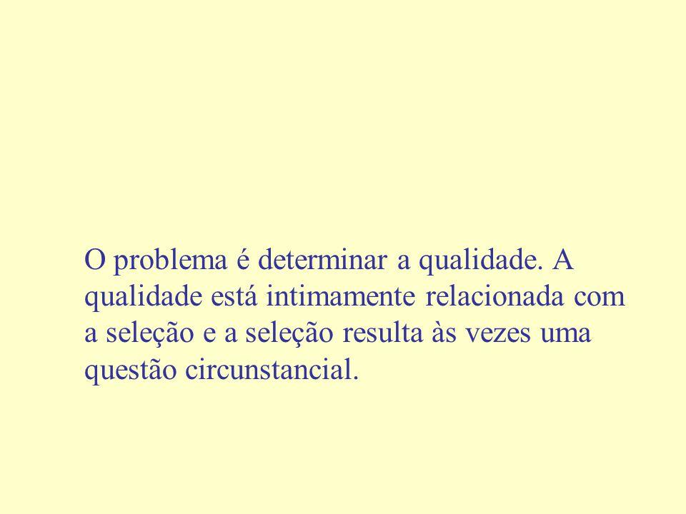 O problema é determinar a qualidade.