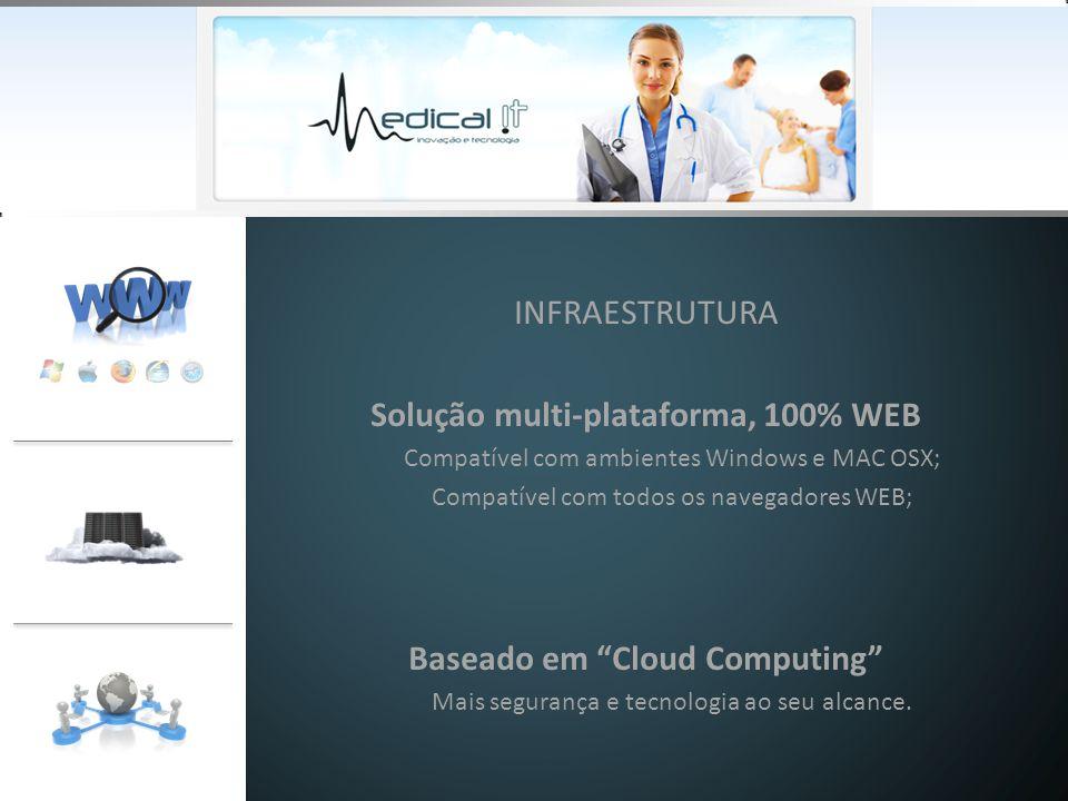 INFRAESTRUTURA Solução multi-plataforma, 100% WEB Compatível com ambientes Windows e MAC OSX; Compatível com todos os navegadores WEB; Baseado em Cloud Computing Mais segurança e tecnologia ao seu alcance.