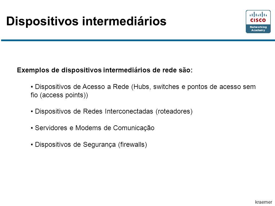 kraemer Exemplos de dispositivos intermediários de rede são: Dispositivos de Acesso a Rede (Hubs, switches e pontos de acesso sem fio (access points))