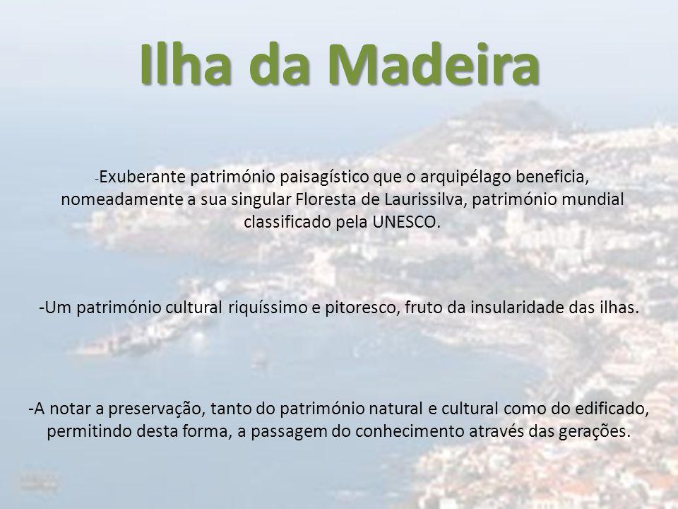 Ilha da Madeira - Exuberante património paisagístico que o arquipélago beneficia, nomeadamente a sua singular Floresta de Laurissilva, património mund