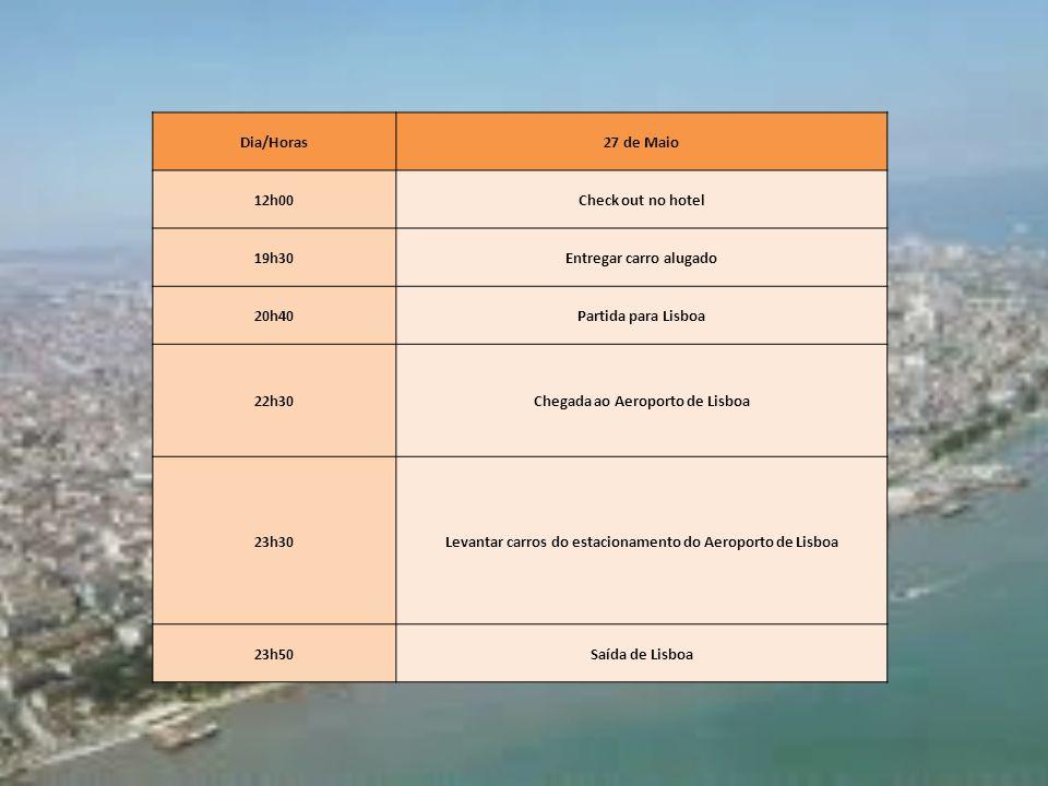 Dia/Horas27 de Maio 12h00Check out no hotel 19h30Entregar carro alugado 20h40Partida para Lisboa 22h30Chegada ao Aeroporto de Lisboa 23h30Levantar car