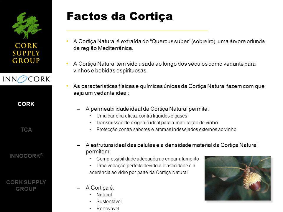 Laboratoires Excell (France) Método de Ensaio: –48 rolhas individuais, propositadamente contaminadas com TCA numa gama entre 1.6 e 42.3 ppt, foram analisadas determinando o TCA Migrável presente nas rolhas individuais antes e depois do INNOCORK ® Resultados dos Ensaios: –Os valores médios de TCA em rolhas processadas pelo INNOCORK ® reduziram de 9.2 para 3.9 ppt, correspondendo a uma média de redução de contaminação de cerca de 60% Estudo de Validação 1 CORK TCA INNOCORK ® CORK SUPPLY GROUP www.labexcell.com Níveis de TCA Migrável em rolhas individuais antes e depois do INNOCORK ® Nível de Concentração de TCA Migrável % de Rolhas Individuais