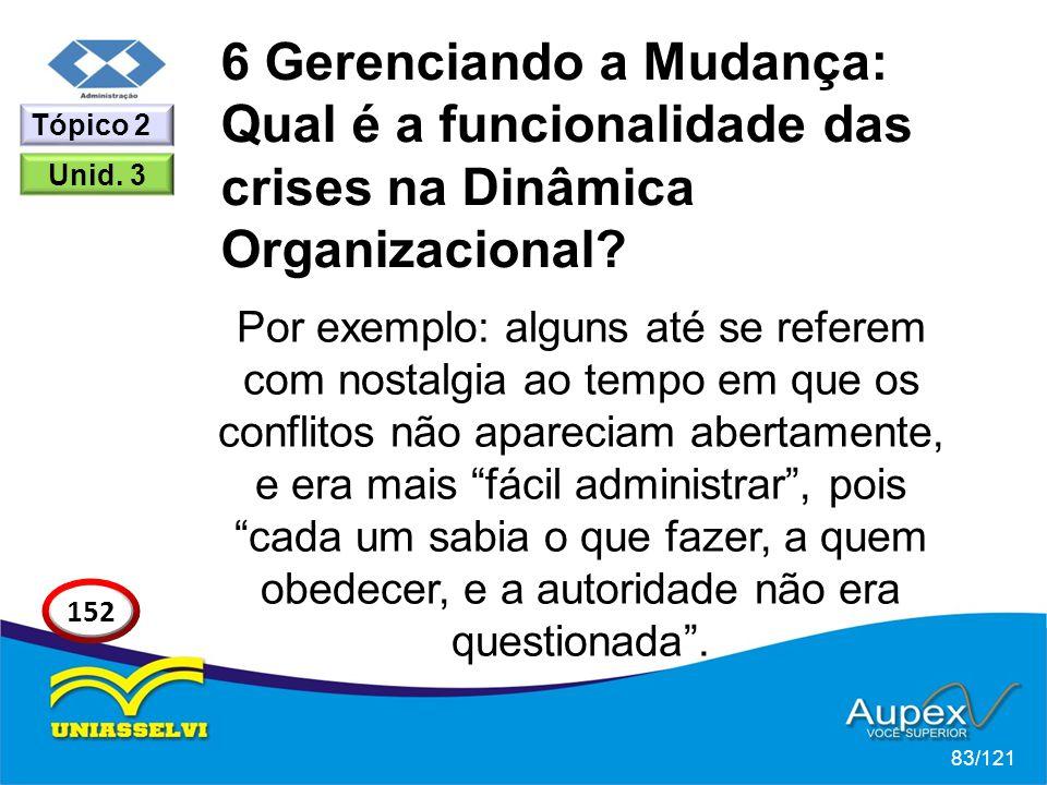 6 Gerenciando a Mudança: Qual é a funcionalidade das crises na Dinâmica Organizacional? Por exemplo: alguns até se referem com nostalgia ao tempo em q