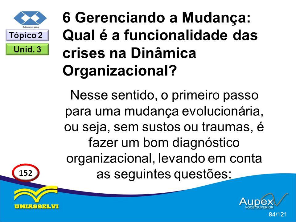 6 Gerenciando a Mudança: Qual é a funcionalidade das crises na Dinâmica Organizacional? Nesse sentido, o primeiro passo para uma mudança evolucionária