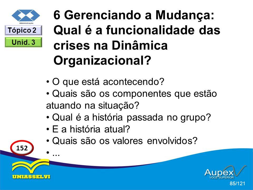 6 Gerenciando a Mudança: Qual é a funcionalidade das crises na Dinâmica Organizacional? O que está acontecendo? Quais são os componentes que estão atu