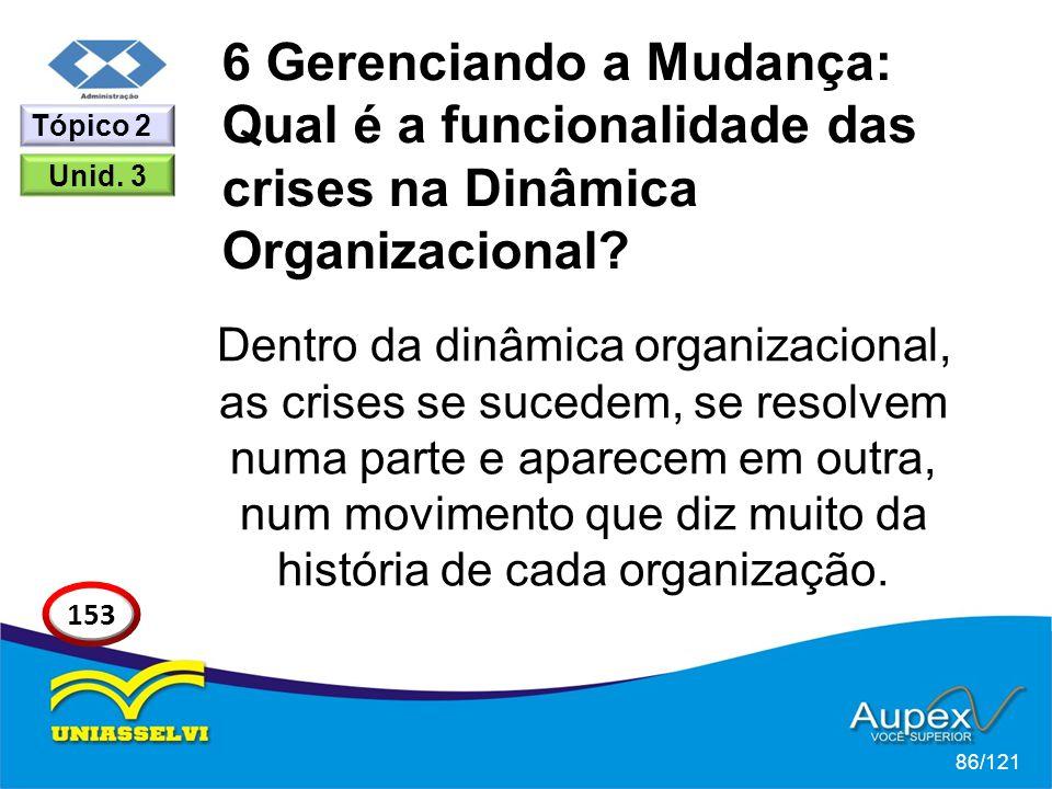 6 Gerenciando a Mudança: Qual é a funcionalidade das crises na Dinâmica Organizacional? Dentro da dinâmica organizacional, as crises se sucedem, se re
