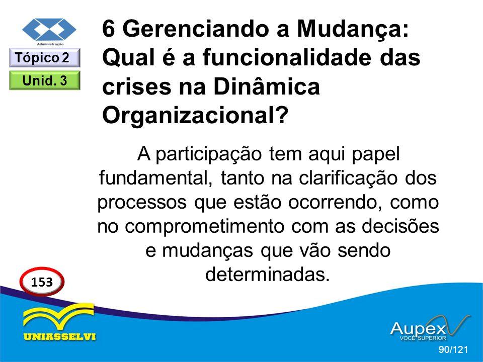 6 Gerenciando a Mudança: Qual é a funcionalidade das crises na Dinâmica Organizacional? A participação tem aqui papel fundamental, tanto na clarificaç