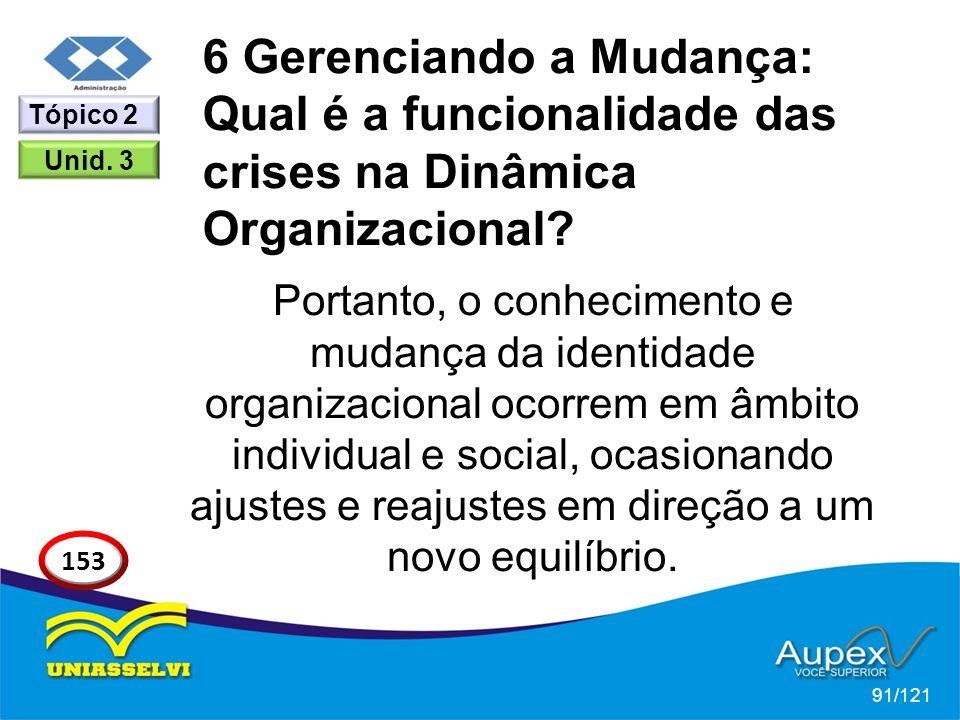 6 Gerenciando a Mudança: Qual é a funcionalidade das crises na Dinâmica Organizacional? Portanto, o conhecimento e mudança da identidade organizaciona