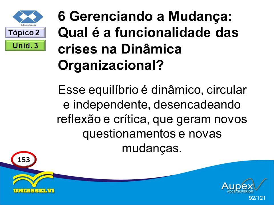 6 Gerenciando a Mudança: Qual é a funcionalidade das crises na Dinâmica Organizacional? Esse equilíbrio é dinâmico, circular e independente, desencade