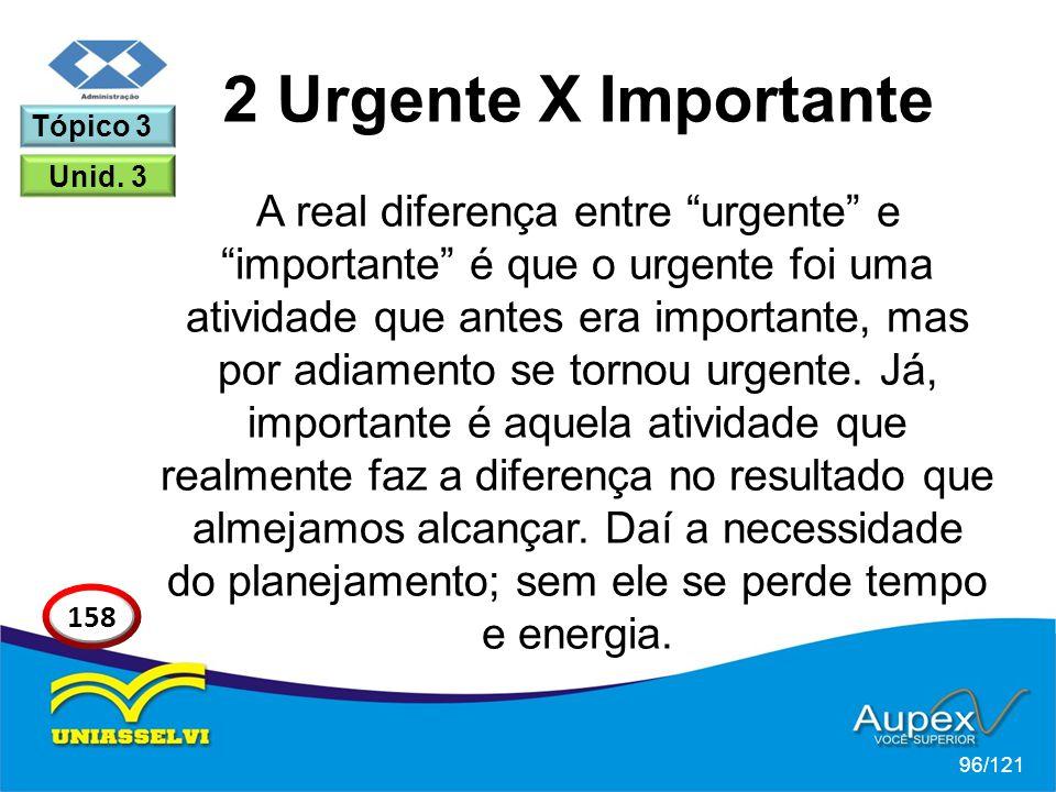 A real diferença entre urgente e importante é que o urgente foi uma atividade que antes era importante, mas por adiamento se tornou urgente.