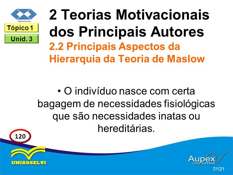 2 Teorias Motivacionais dos Principais Autores 2.2 Principais Aspectos da Hierarquia da Teoria de Maslow O indivíduo nasce com certa bagagem de necessidades fisiológicas que são necessidades inatas ou hereditárias.