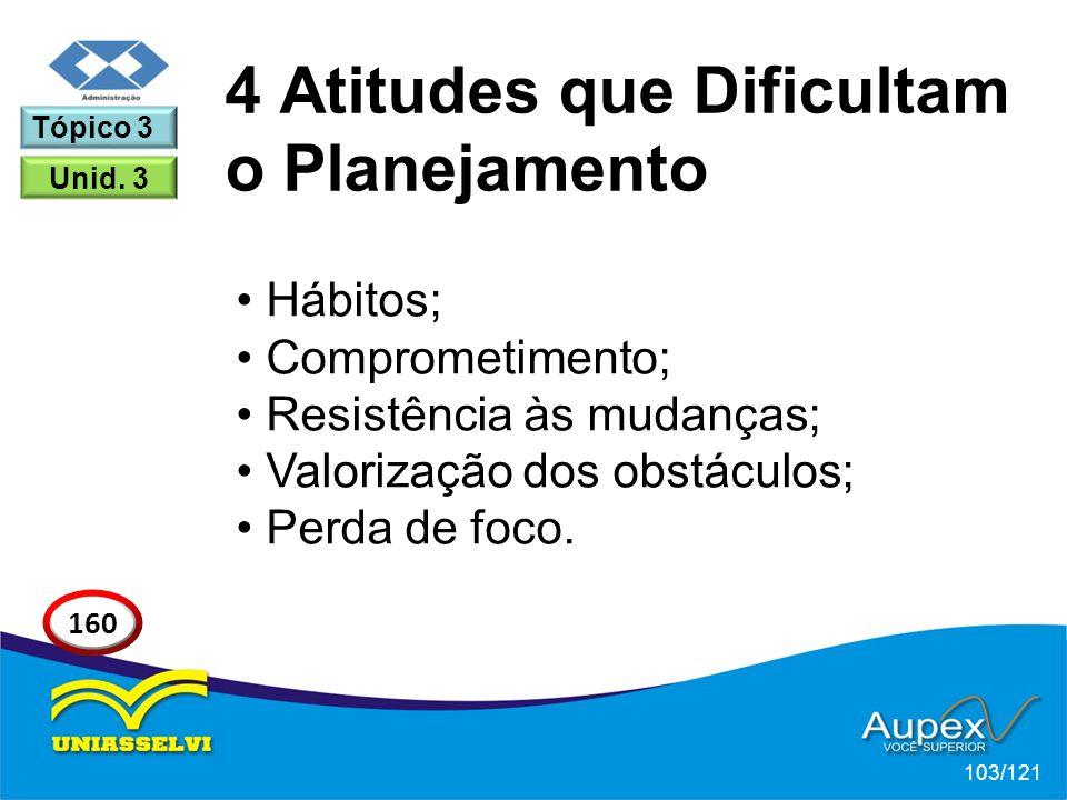 Hábitos; Comprometimento; Resistência às mudanças; Valorização dos obstáculos; Perda de foco. 4 Atitudes que Dificultam o Planejamento 103/121 Tópico