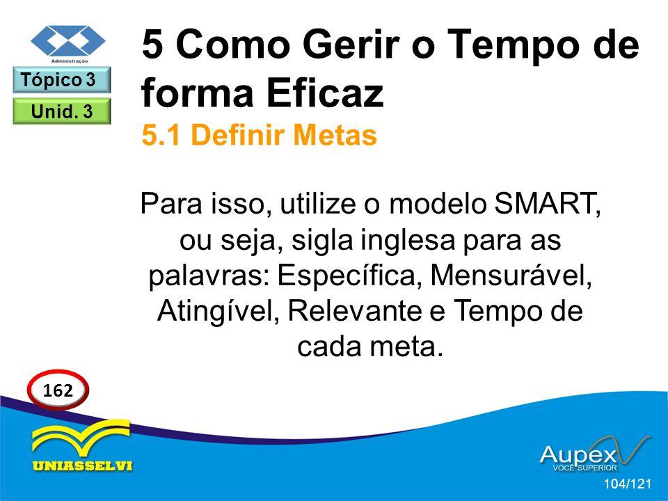 Para isso, utilize o modelo SMART, ou seja, sigla inglesa para as palavras: Específica, Mensurável, Atingível, Relevante e Tempo de cada meta. 5 Como