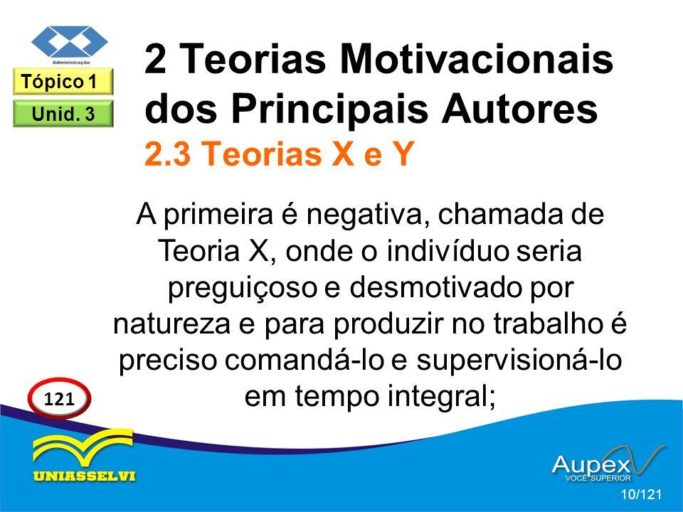 2 Teorias Motivacionais dos Principais Autores 2.3 Teorias X e Y A primeira é negativa, chamada de Teoria X, onde o indivíduo seria preguiçoso e desmotivado por natureza e para produzir no trabalho é preciso comandá-lo e supervisioná-lo em tempo integral; 10/121 121 Tópico 1 Unid.