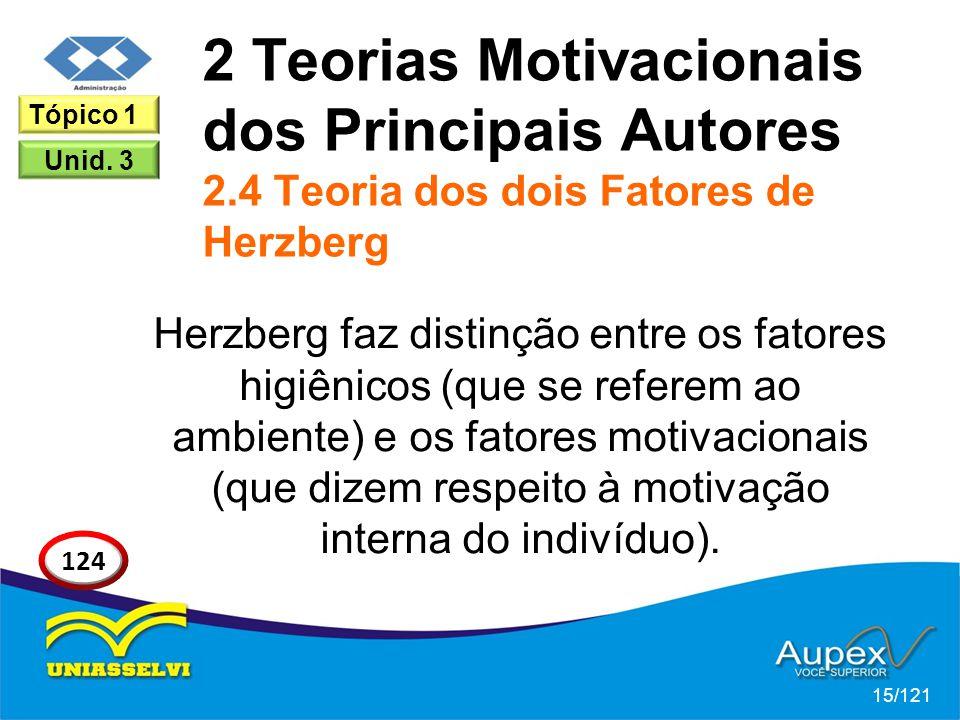 2 Teorias Motivacionais dos Principais Autores 2.4 Teoria dos dois Fatores de Herzberg Herzberg faz distinção entre os fatores higiênicos (que se referem ao ambiente) e os fatores motivacionais (que dizem respeito à motivação interna do indivíduo).