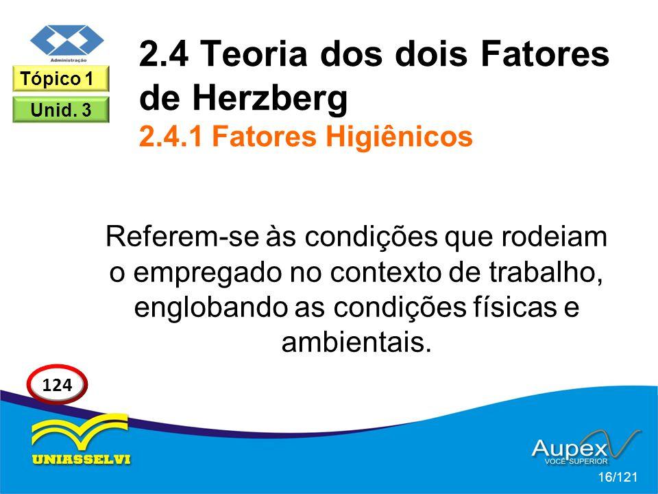 2.4 Teoria dos dois Fatores de Herzberg 2.4.1 Fatores Higiênicos Referem-se às condições que rodeiam o empregado no contexto de trabalho, englobando as condições físicas e ambientais.