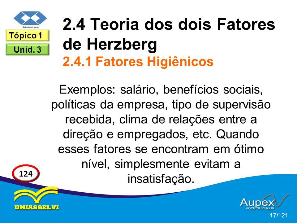 2.4 Teoria dos dois Fatores de Herzberg 2.4.1 Fatores Higiênicos Exemplos: salário, benefícios sociais, políticas da empresa, tipo de supervisão recebida, clima de relações entre a direção e empregados, etc.
