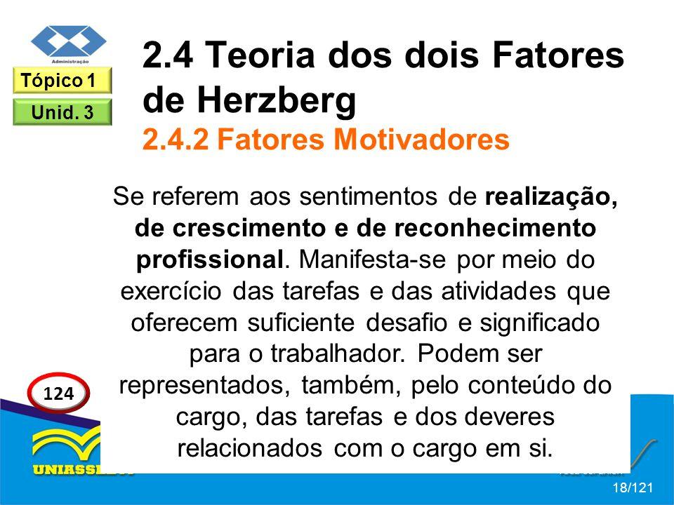 2.4 Teoria dos dois Fatores de Herzberg 2.4.2 Fatores Motivadores Se referem aos sentimentos de realização, de crescimento e de reconhecimento profissional.