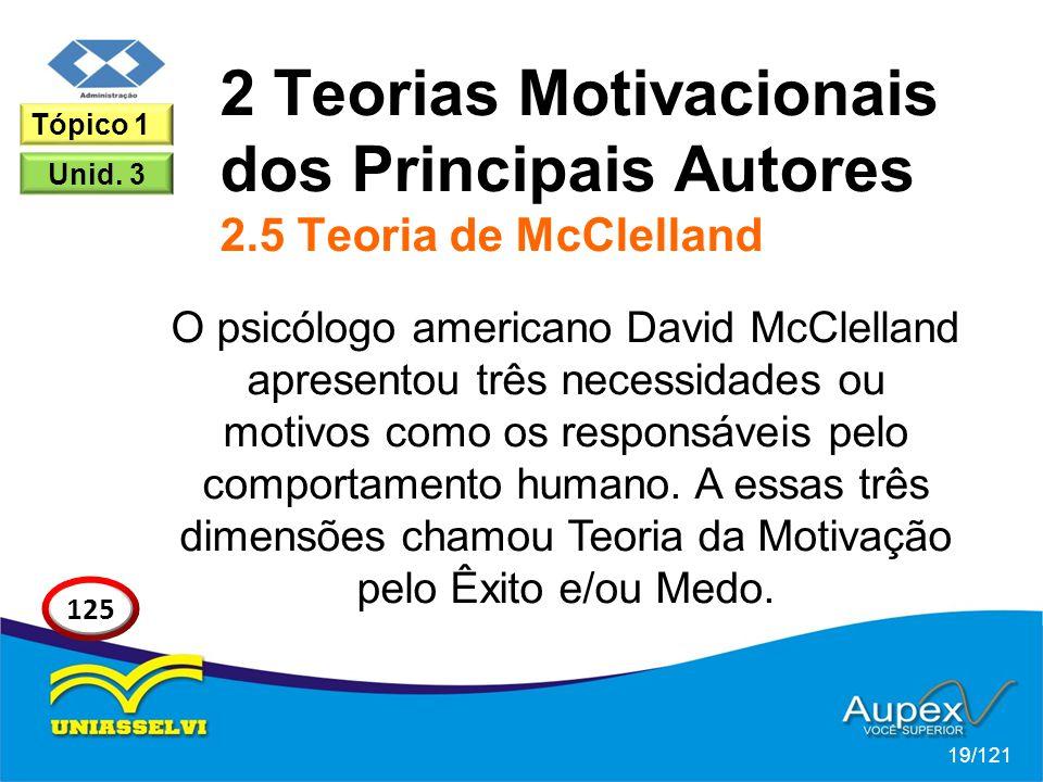 2 Teorias Motivacionais dos Principais Autores 2.5 Teoria de McClelland O psicólogo americano David McClelland apresentou três necessidades ou motivos como os responsáveis pelo comportamento humano.