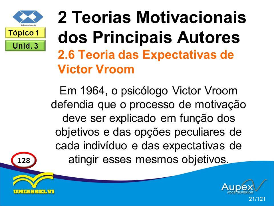 2 Teorias Motivacionais dos Principais Autores 2.6 Teoria das Expectativas de Victor Vroom Em 1964, o psicólogo Victor Vroom defendia que o processo de motivação deve ser explicado em função dos objetivos e das opções peculiares de cada indivíduo e das expectativas de atingir esses mesmos objetivos.