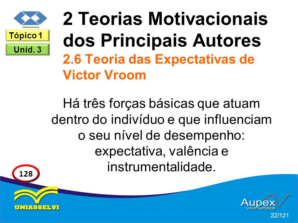 2 Teorias Motivacionais dos Principais Autores 2.6 Teoria das Expectativas de Victor Vroom Há três forças básicas que atuam dentro do indivíduo e que influenciam o seu nível de desempenho: expectativa, valência e instrumentalidade.