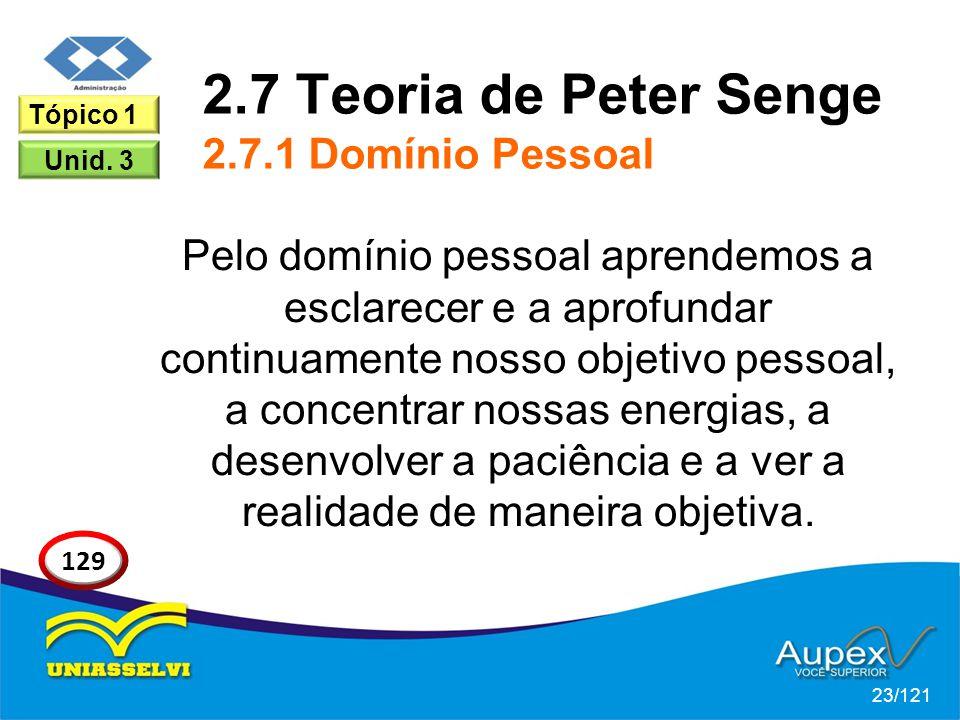 2.7 Teoria de Peter Senge 2.7.1 Domínio Pessoal Pelo domínio pessoal aprendemos a esclarecer e a aprofundar continuamente nosso objetivo pessoal, a concentrar nossas energias, a desenvolver a paciência e a ver a realidade de maneira objetiva.
