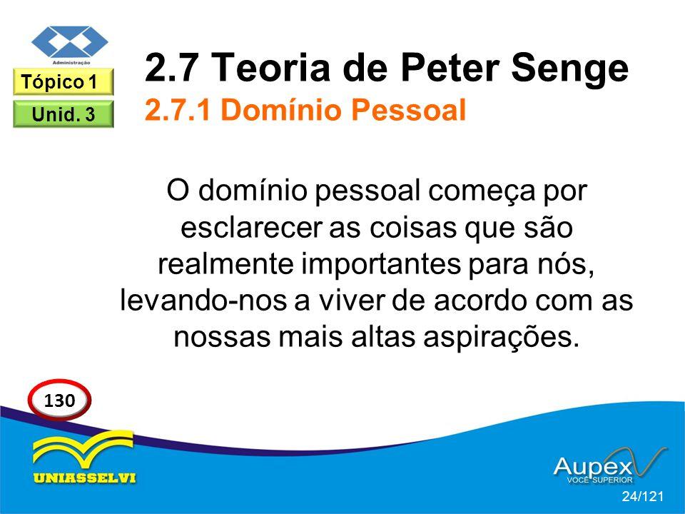 2.7 Teoria de Peter Senge 2.7.1 Domínio Pessoal O domínio pessoal começa por esclarecer as coisas que são realmente importantes para nós, levando-nos a viver de acordo com as nossas mais altas aspirações.