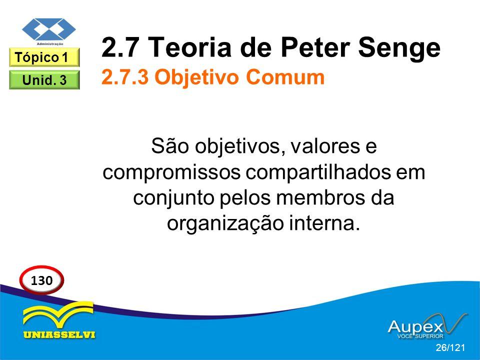 2.7 Teoria de Peter Senge 2.7.3 Objetivo Comum São objetivos, valores e compromissos compartilhados em conjunto pelos membros da organização interna.