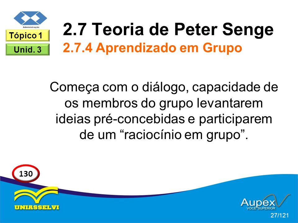 2.7 Teoria de Peter Senge 2.7.4 Aprendizado em Grupo Começa com o diálogo, capacidade de os membros do grupo levantarem ideias pré-concebidas e participarem de um raciocínio em grupo .
