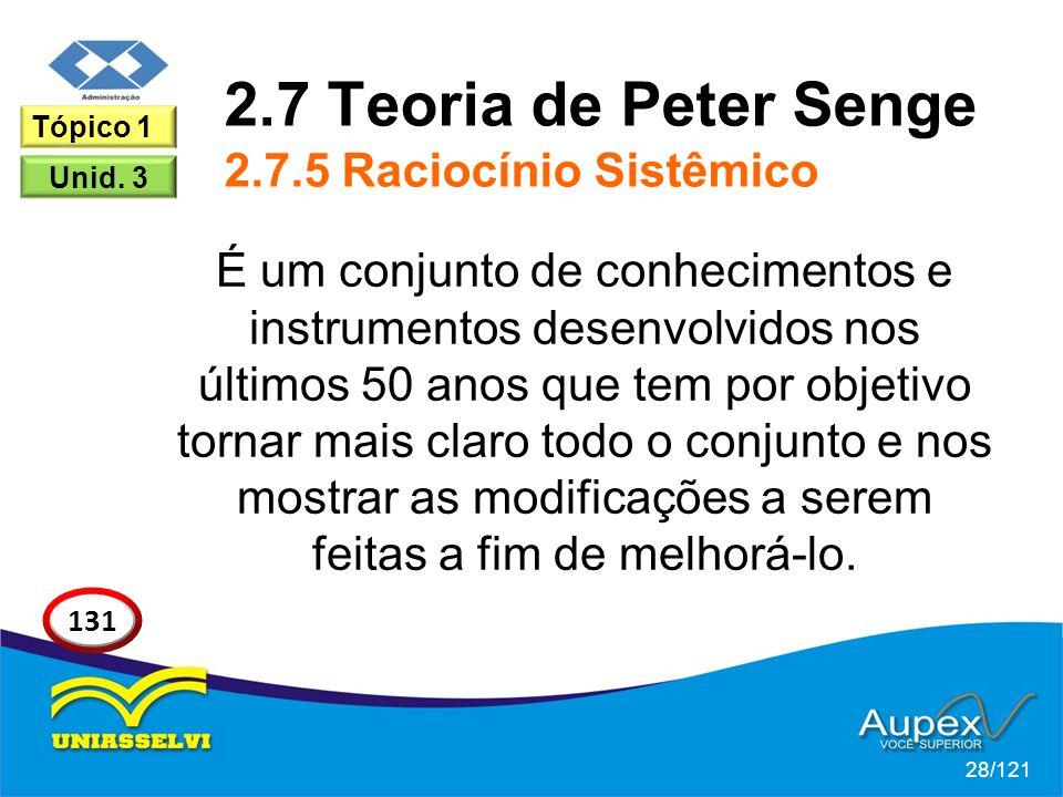 2.7 Teoria de Peter Senge 2.7.5 Raciocínio Sistêmico É um conjunto de conhecimentos e instrumentos desenvolvidos nos últimos 50 anos que tem por objetivo tornar mais claro todo o conjunto e nos mostrar as modificações a serem feitas a fim de melhorá-lo.