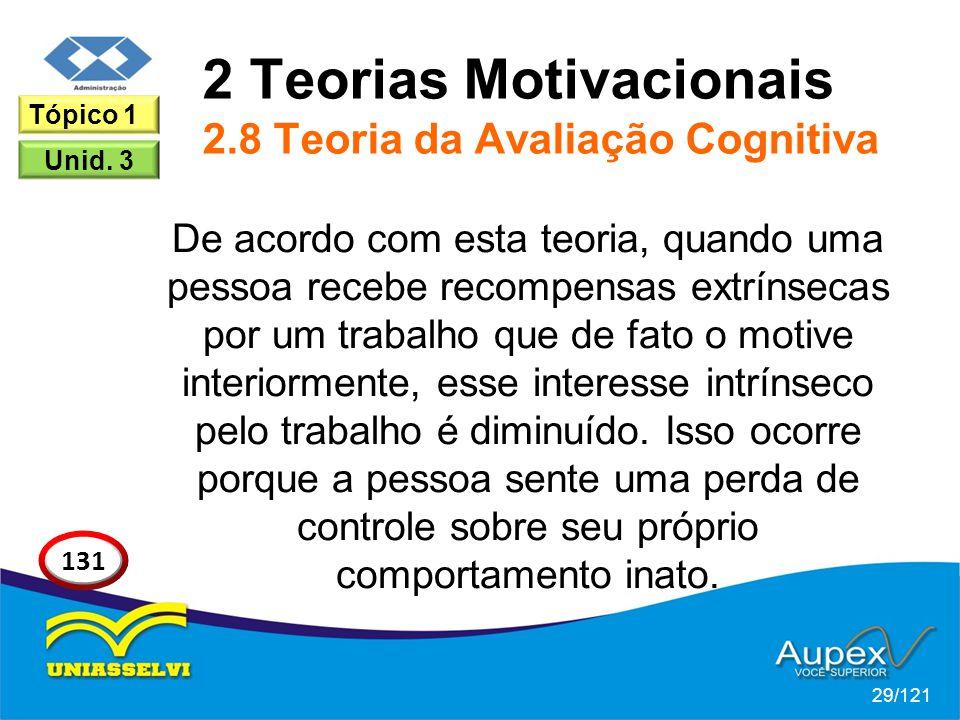 2 Teorias Motivacionais 2.8 Teoria da Avaliação Cognitiva De acordo com esta teoria, quando uma pessoa recebe recompensas extrínsecas por um trabalho que de fato o motive interiormente, esse interesse intrínseco pelo trabalho é diminuído.