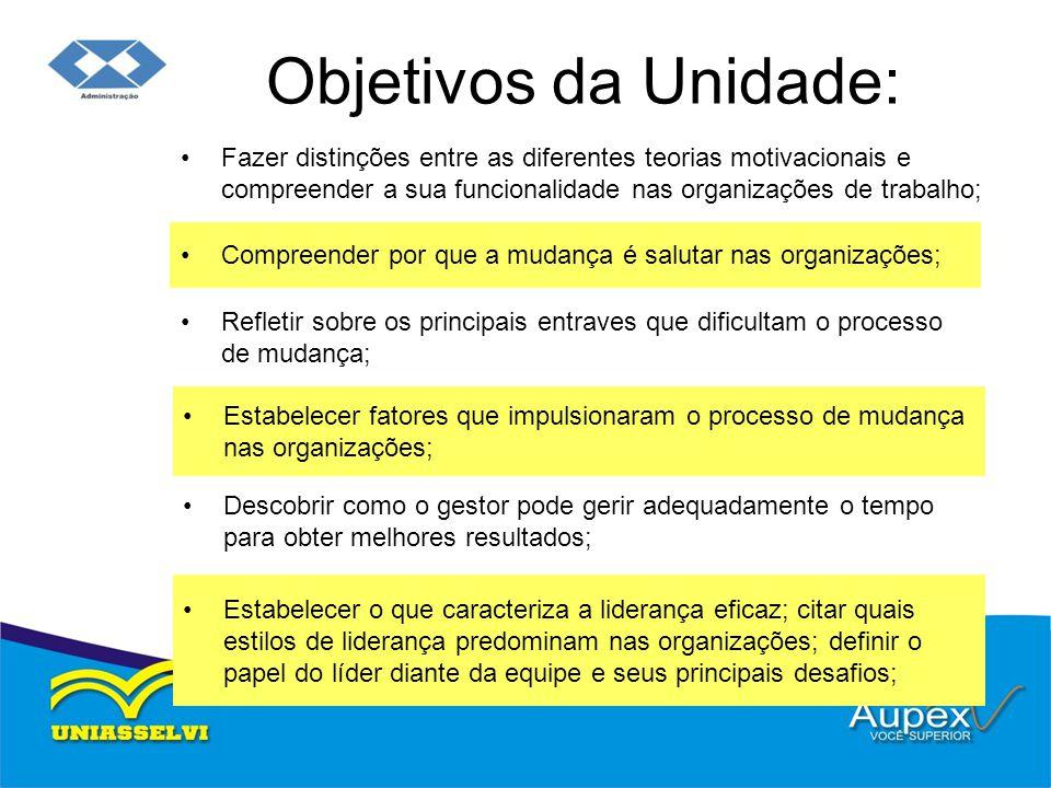 Objetivos da Unidade: Fazer distinções entre as diferentes teorias motivacionais e compreender a sua funcionalidade nas organizações de trabalho; Comp