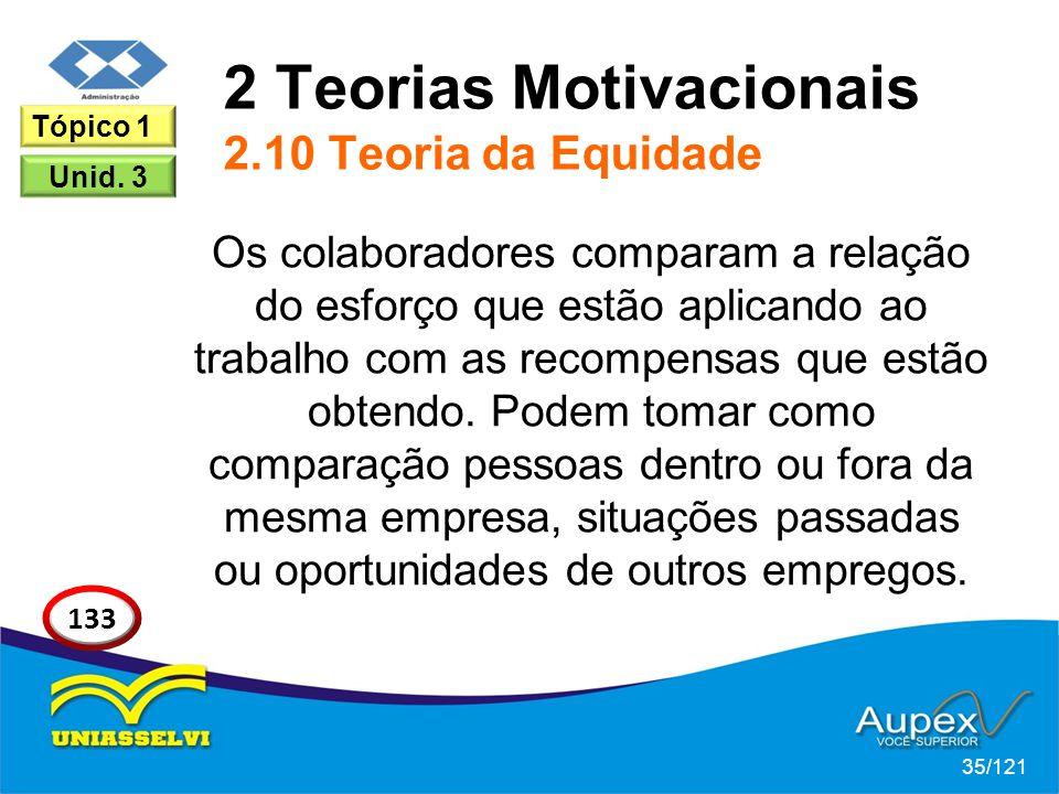 2 Teorias Motivacionais 2.10 Teoria da Equidade Os colaboradores comparam a relação do esforço que estão aplicando ao trabalho com as recompensas que estão obtendo.