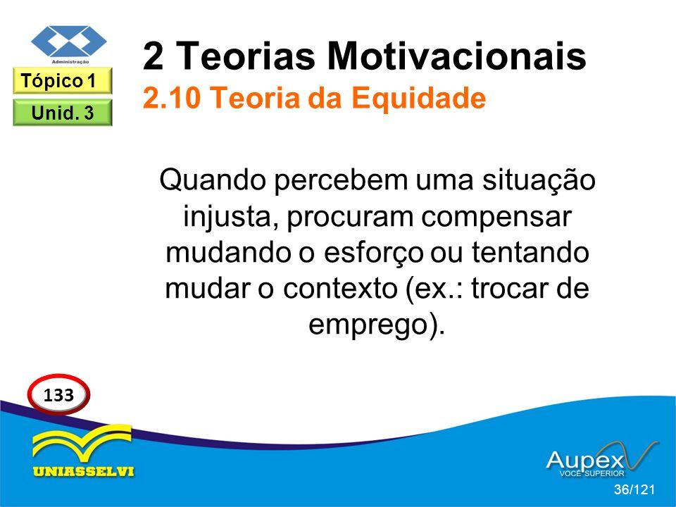 2 Teorias Motivacionais 2.10 Teoria da Equidade Quando percebem uma situação injusta, procuram compensar mudando o esforço ou tentando mudar o contexto (ex.: trocar de emprego).