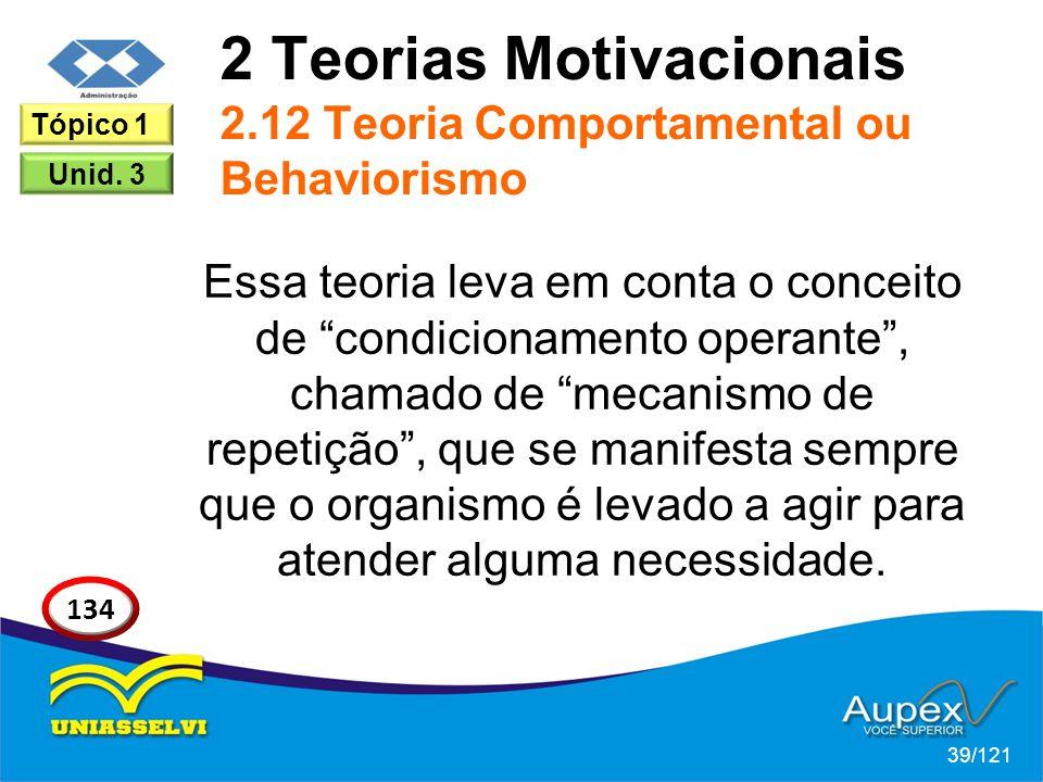 2 Teorias Motivacionais 2.12 Teoria Comportamental ou Behaviorismo Essa teoria leva em conta o conceito de condicionamento operante , chamado de mecanismo de repetição , que se manifesta sempre que o organismo é levado a agir para atender alguma necessidade.