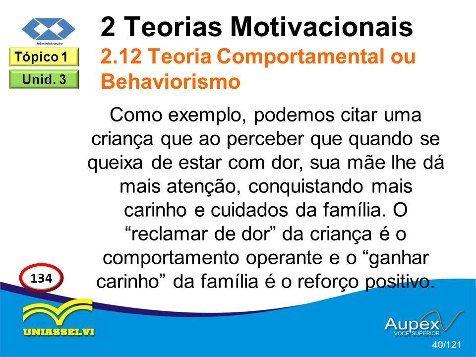 2 Teorias Motivacionais 2.12 Teoria Comportamental ou Behaviorismo Como exemplo, podemos citar uma criança que ao perceber que quando se queixa de estar com dor, sua mãe lhe dá mais atenção, conquistando mais carinho e cuidados da família.