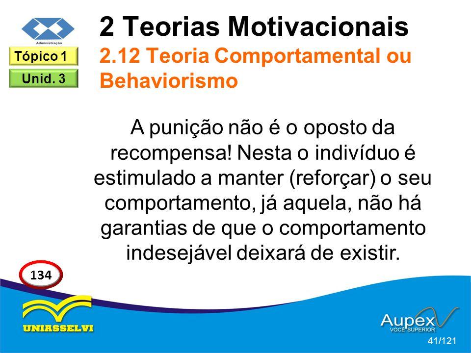 2 Teorias Motivacionais 2.12 Teoria Comportamental ou Behaviorismo A punição não é o oposto da recompensa! Nesta o indivíduo é estimulado a manter (re