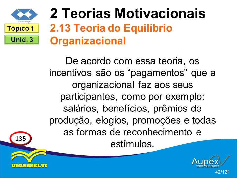 2 Teorias Motivacionais 2.13 Teoria do Equilíbrio Organizacional De acordo com essa teoria, os incentivos são os pagamentos que a organizacional faz aos seus participantes, como por exemplo: salários, benefícios, prêmios de produção, elogios, promoções e todas as formas de reconhecimento e estímulos.