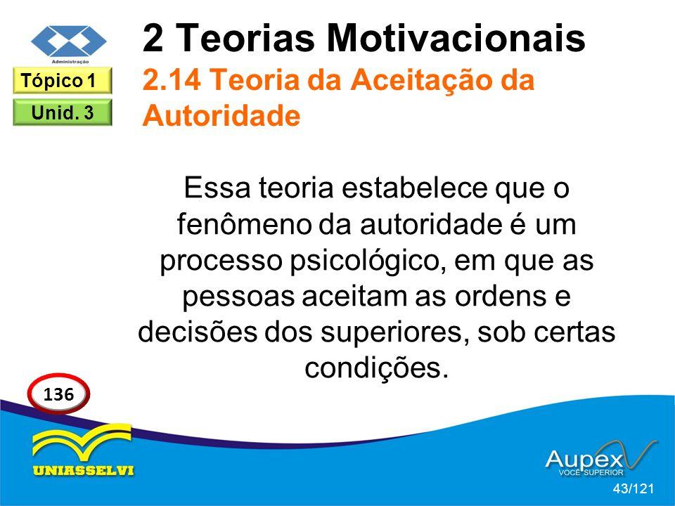 2 Teorias Motivacionais 2.14 Teoria da Aceitação da Autoridade Essa teoria estabelece que o fenômeno da autoridade é um processo psicológico, em que as pessoas aceitam as ordens e decisões dos superiores, sob certas condições.