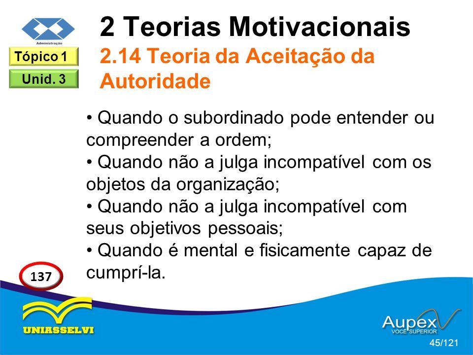 2 Teorias Motivacionais 2.14 Teoria da Aceitação da Autoridade Quando o subordinado pode entender ou compreender a ordem; Quando não a julga incompatí