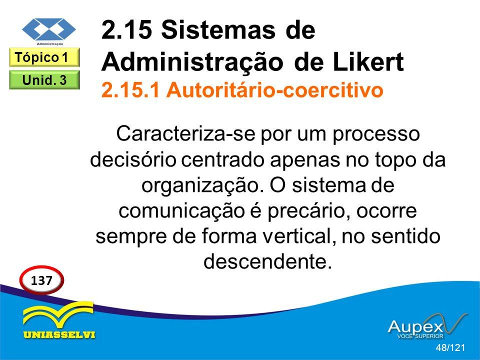 2.15 Sistemas de Administração de Likert 2.15.1 Autoritário-coercitivo Caracteriza-se por um processo decisório centrado apenas no topo da organização