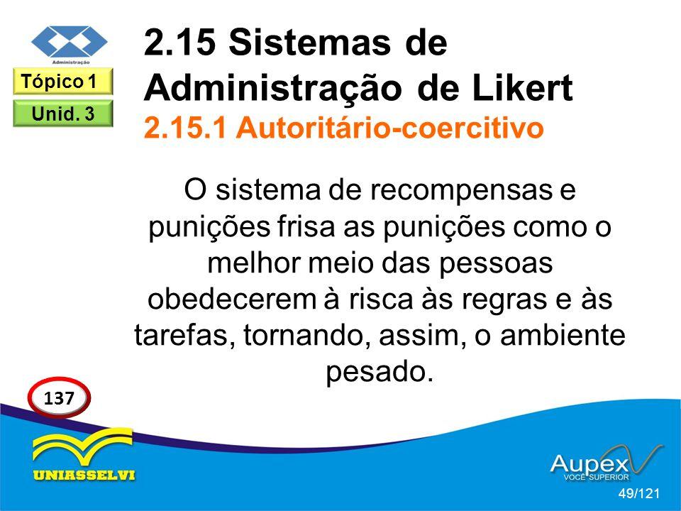 2.15 Sistemas de Administração de Likert 2.15.1 Autoritário-coercitivo O sistema de recompensas e punições frisa as punições como o melhor meio das pe